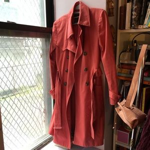 Kenneth Cole Orange Trench-coat Size M